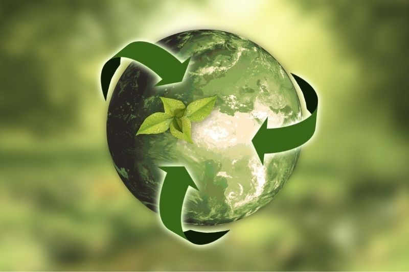 A graphic of the earth surrounded by a recycling symbol