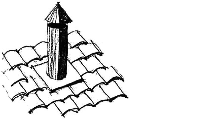 A steel flue chimney painted black
