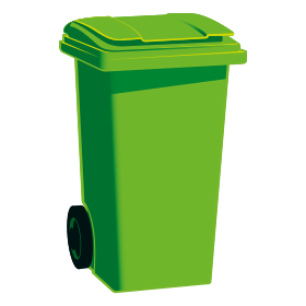 A graphic of a green wheelie bin with a green lid