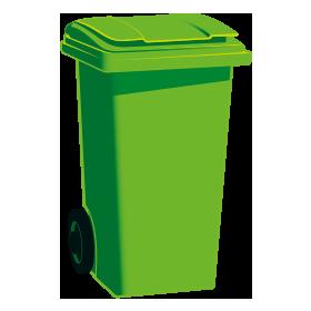 Green-top general waste bin