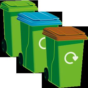 A green-top bin, a blue-top bin and a garden waste bin