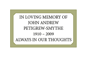 A cemetery plaque with five lines of wording