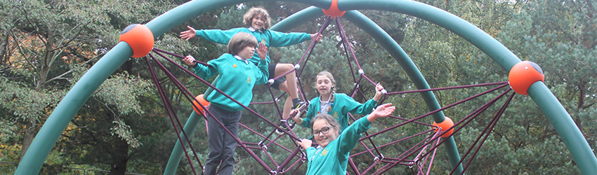 Kingslea Primary School pupils trialing the new play area