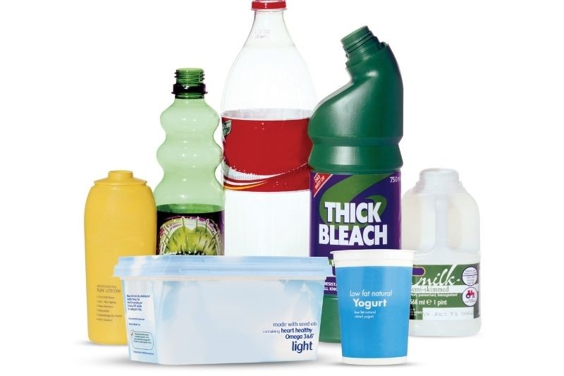 A selection of single-use plastic bottles and pots