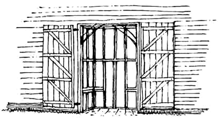 Double doors folded open against the barn building