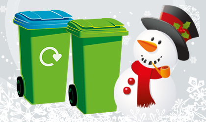 A snowman with a green-top general waste bin and a blue-top recycling bin