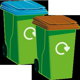 A blue-top bin and a garden waste bin