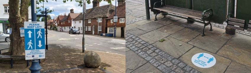 A Keep your Distance sign on a lamppost in Billingshurst and a floor sticker in Horsham