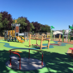 A playground with various play equipment