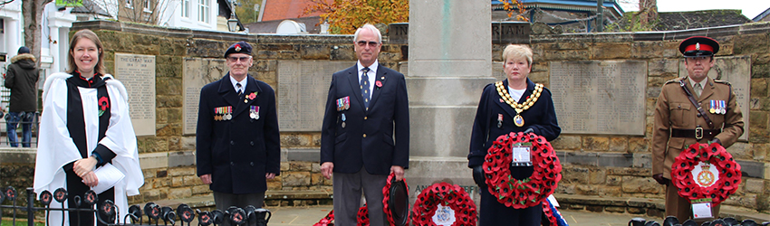Armistice Day wreath layers in Horsham town centre
