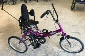 A purple Tomcat trike with full seat and harness
