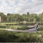 A concept image for the Rookwood Horsham proposal showing a new-look Warnham Local Nature Reserve