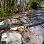 Fly tipping on the side of the road