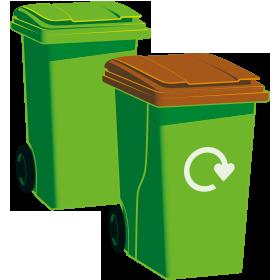 A green-top bin and a garden waste bin