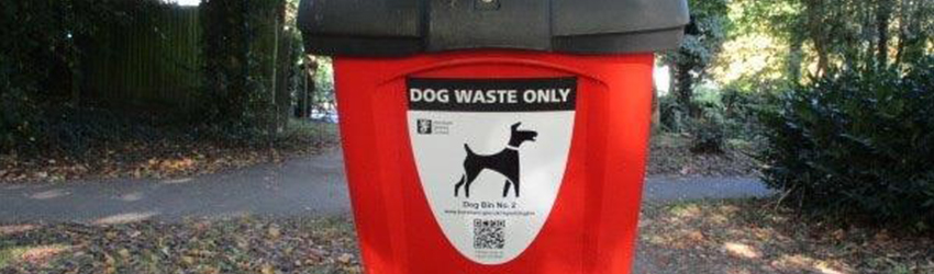 Dog waste bin with QR code