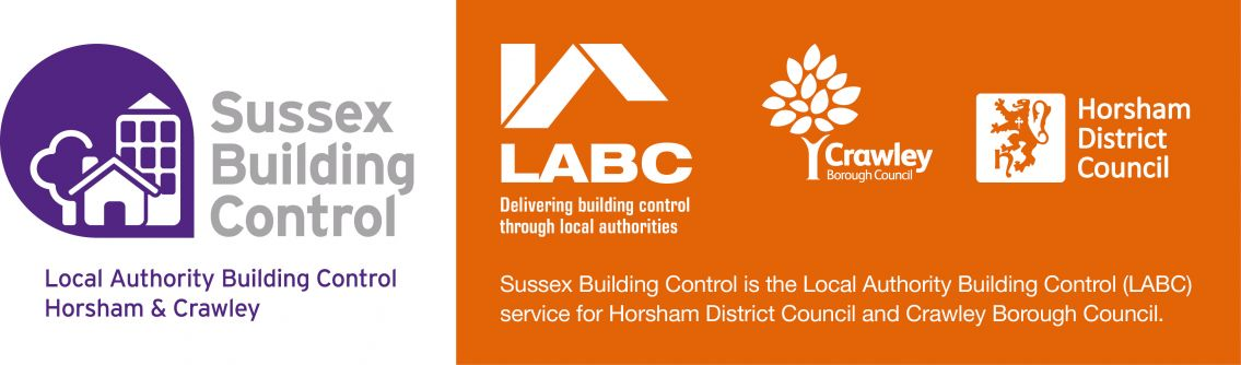Logos fro the LABC, Sussex Building Control, Crawley Council and Horsham District Council