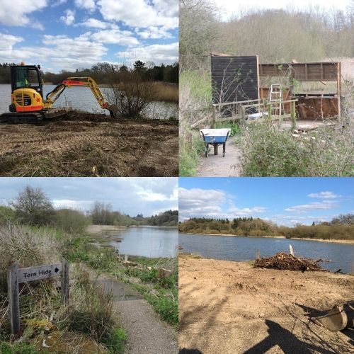 A montage of images showing the progress at Tern Hide