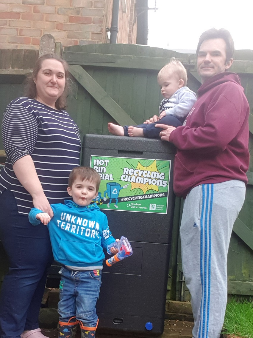 The Barber Bacon family with their Hot Bin