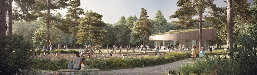 Proposed new visitor centre, open play area and new landscaping - for illustrative purposes only