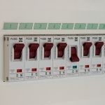 A set of red fuse switches