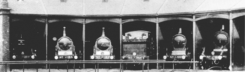 LBSCR trains in the roundhouse
