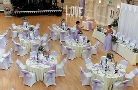 Drill hall set up for a wedding event
