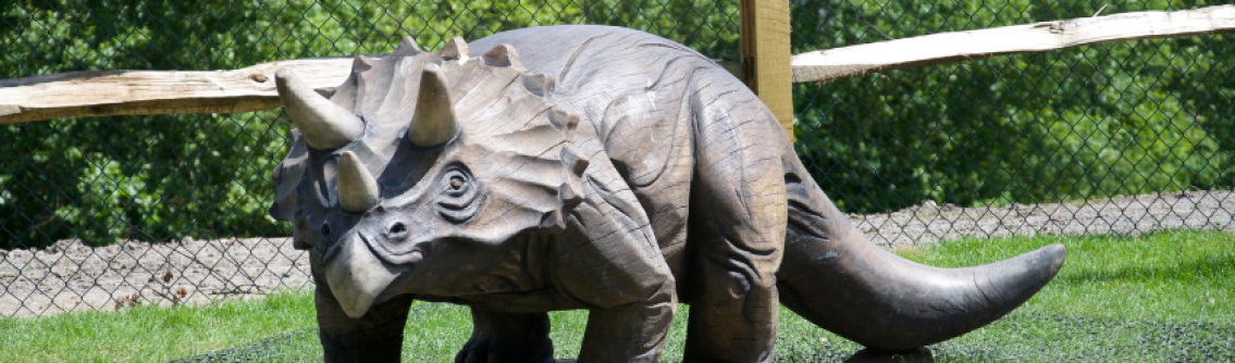 A triceratops sculpture at Dinosaur Island