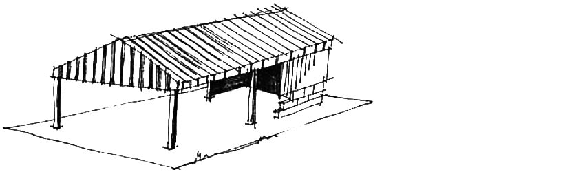 Modern agricultural building with a low-pitched roof