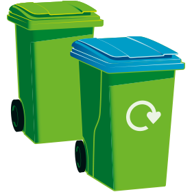 Green-top general waste bin and blue-top recycling bin