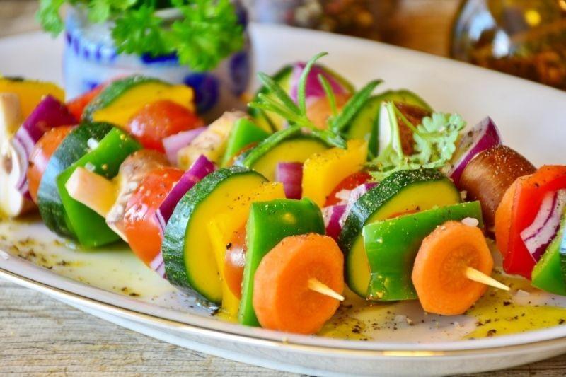 Colourful fresh vegetable kebab skewers