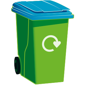 A graphic of a green wheelie bin with a blue lid