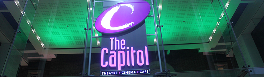The Capitol theatre lights up green