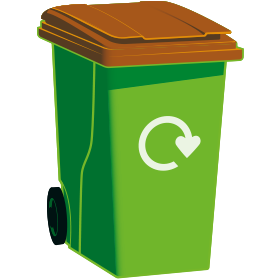 A graphic of a green wheelie bin with a brown lid