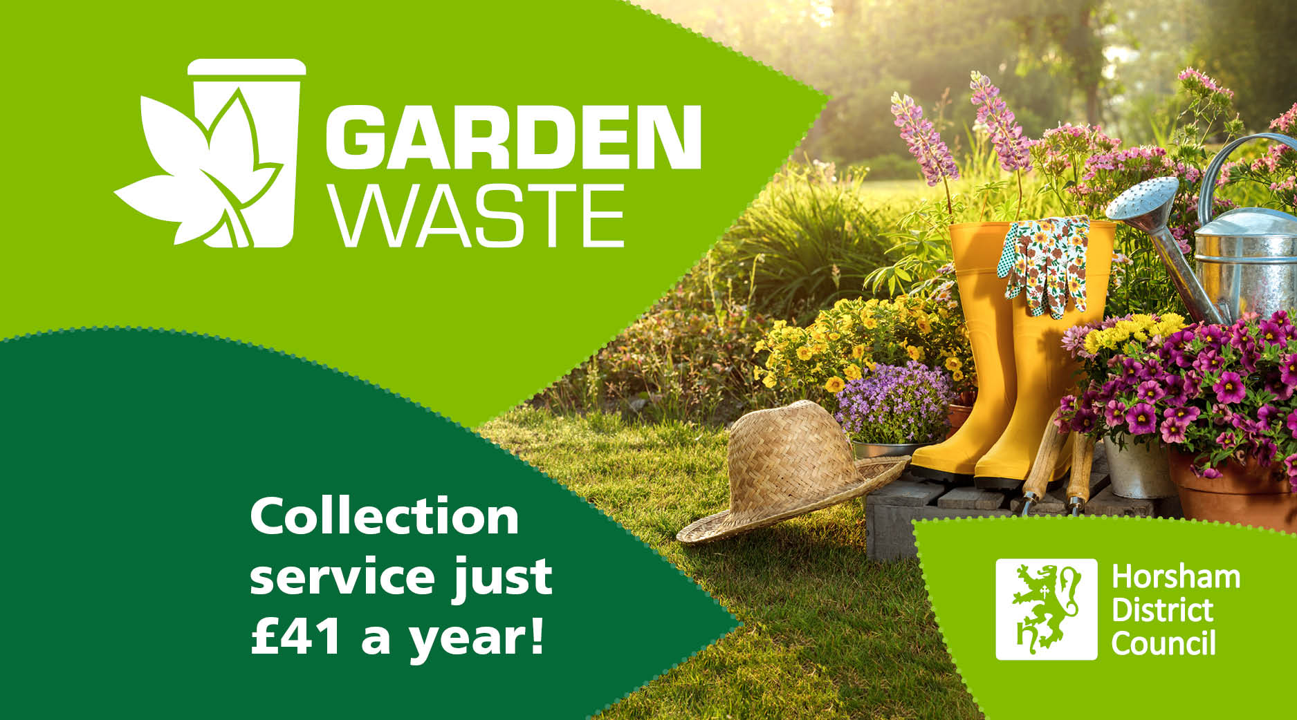 Sign up for the garden waste collection service for £41 a year