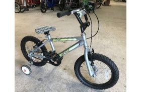 A silver BMX bike with stabilisers and adjustable saddle