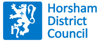 A blue display of the Horsham District Council logo