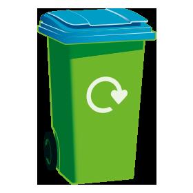 Blue-top recycling bin