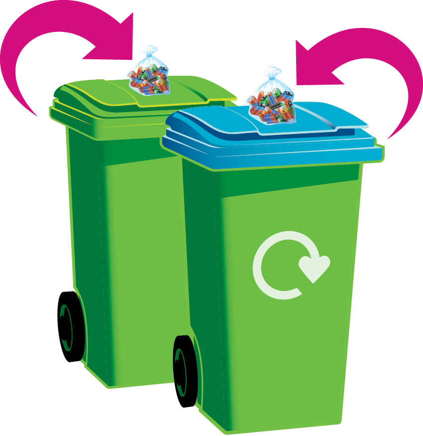 Place your batteries inside a food bag such as a sandwich bag, and place the bag on top of your refuse or recycling bin on collection day.
