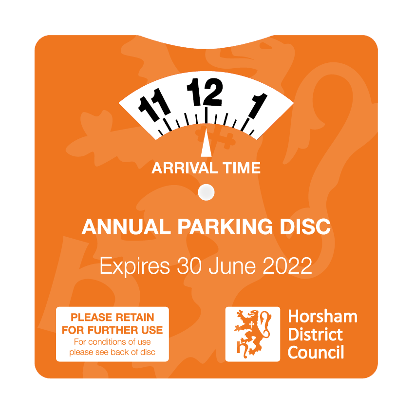 The Annual Parking Disc for 2021-2022 is an orange square with a clock on it. Simply set the clock to the time you arrive in the car park and put it on your dashboard.