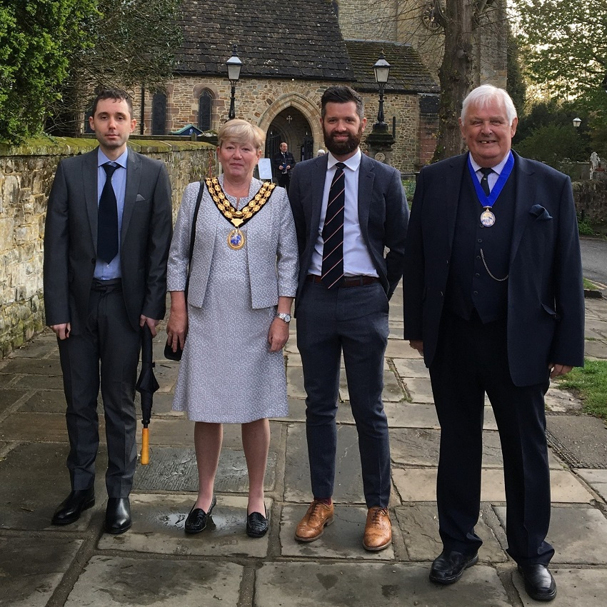 •HDC Chairman Cllr Karen Burgess Cllr Peter Burgess and their family attend the service
