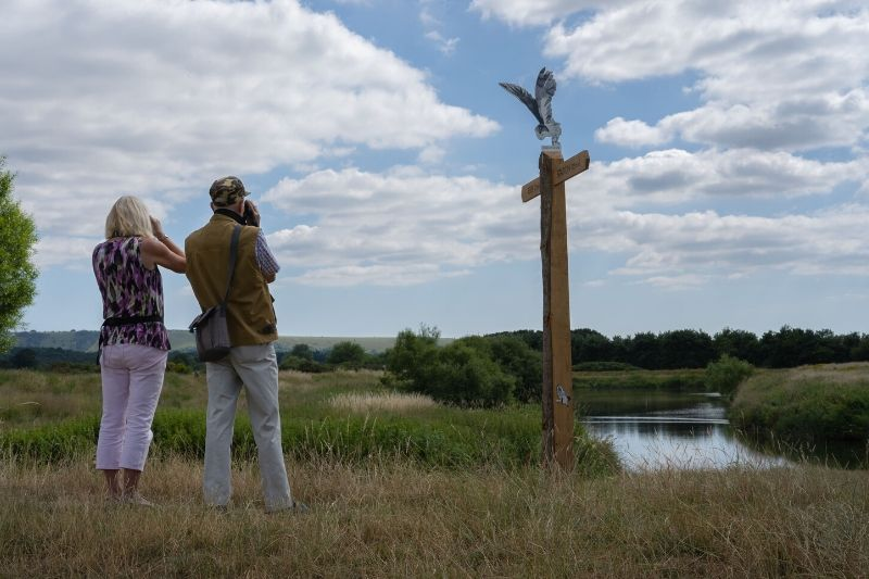 Two walkers look out over Pulborough Brooks, part of the Wildart Trail