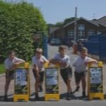 Pupils at St Mary's primary school with their winning sign designs