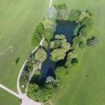 An aerial view of the Horsham Park Pond