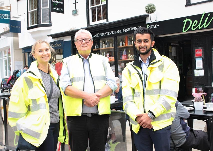 Covid-19 Information Officers Trudy Elkin, Ian Dewar and Dhruv Amin patrolling Horsham