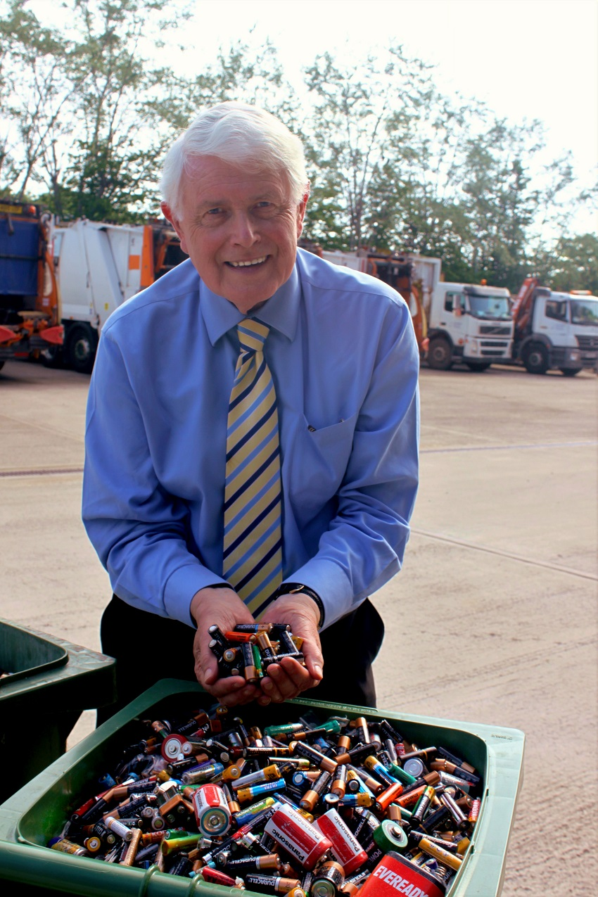 Councillor Philip Circus with the batteries