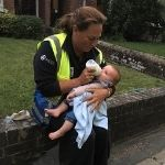 Neighbourhood Warden Vanessa Green with the baby.