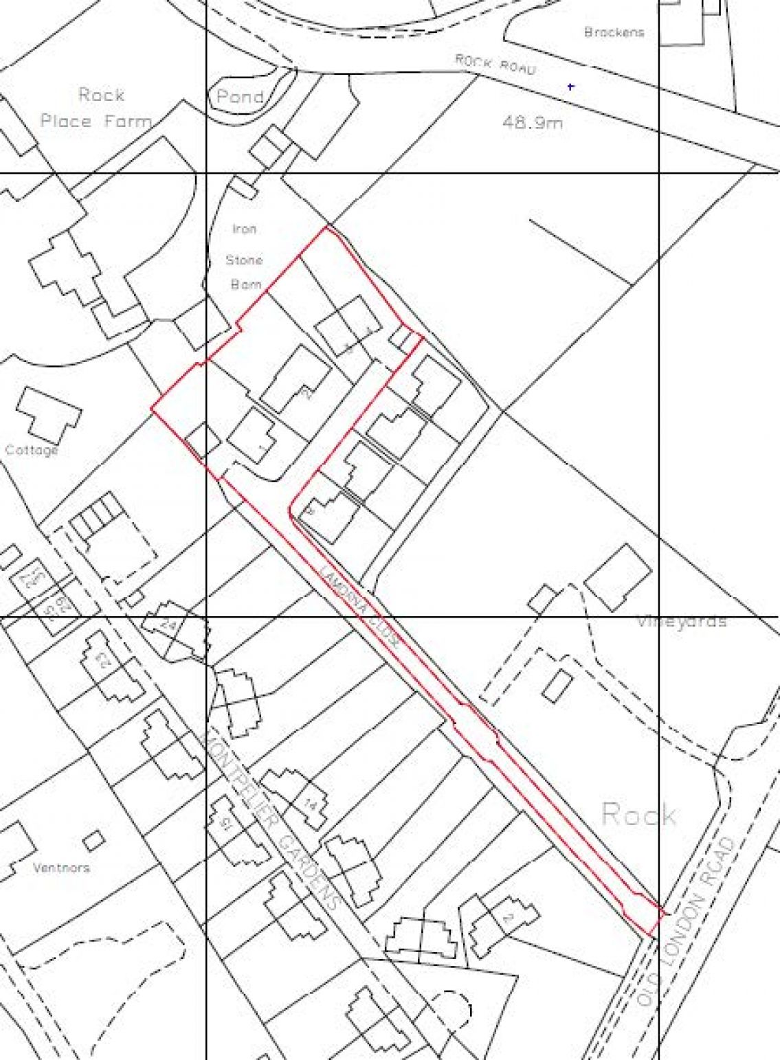 A red outline is drawn around the proposed location for development