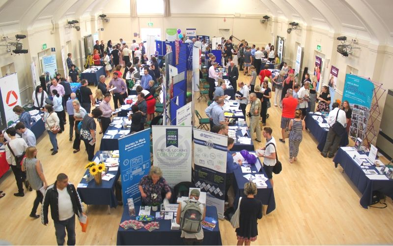 Employers and the public at the Horsham District Jobs and Skills Fair at the Drill Hall