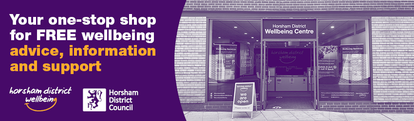The Wellbeing Centre has purple signage welcoming you in