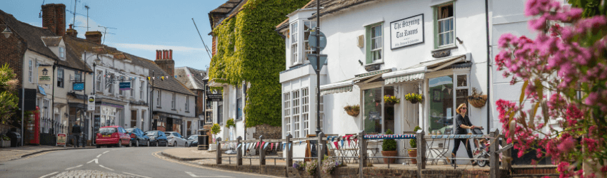 A view of Steyning High Street on a sunny day